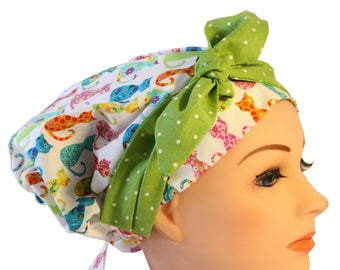 Scrub Hat Cap Chemo Bad Hair Day Hat  European BOHO Banded Pixie Tie Back Calico Cats  Tie Band 2nd Item Ships FREE