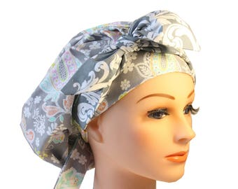 Scrub Cap Surgical Medical Chemo Chef Vet Nurse Hat Banded Bouffant Tie Back Lacy Pink Floral Grey Damask Tie 2nd Item Ships FREE