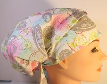 Scrub Hat Cap Chemo Bad Hair Day Hat  European BOHO Pixie Pink Grey Birds  2nd Item Ships FREE