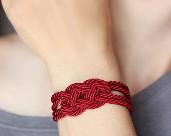 Deep Red Bracelet Red Rope Bracelet Red Cord Bracelet Knot Bracelet Infinity Bracelet Nautical Bracelet Sailor Knot Bracelet Knot Jewelry