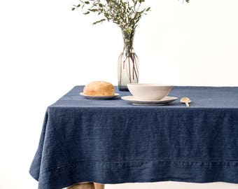 SALE! Navy Linen Tablecloth with Hemstitch