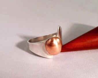 copper silver pearl ring
