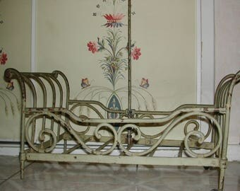 19th century old wrought iron doll bed, doll furniture