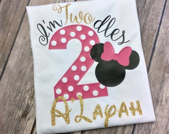 Hot Pink, Black and Gold Glitter I'm Twodles Minnie Mouse Birthday Girl Personalized Shirt, 2 Year Old, Second Birthday, Two Year Old