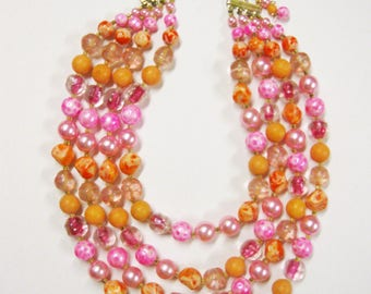 SALE Multi Strand Bead Necklace 4 Strands Pink Fuchsia Peach Beads Perfect for Spring Summer Vintage Necklace Gift for Women Fashion Jewelry