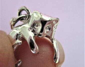 Sterling Silver Cat Charm Sterling Silver Bracelet Charm Vintage Jewelry Making Supply Keepsake Cat Lover Charm Animal Cat Charm INWSS1