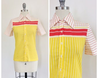 70s Red, White & Yellow Plaid Blouse / 1970s Stripe Cotton Shirt / Small / Size 4