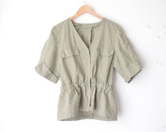 military olive green linen blouse jacket 70s // M-L