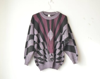 vintage purple abstract geometic oversized knit sweater pullover 80s // M-L