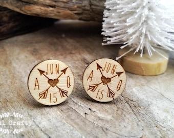Personalized round arrow Wooden Cufflinks Dad Grooms Best man Groomsman Rustic Wedding Birthday Gift Cuff links