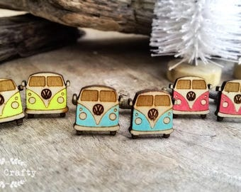 VW Camper Van Wooden Cufflinks Volks Wagen Dad Grooms Best man Groomsman Rustic Wedding Birthday Gift Cuff links