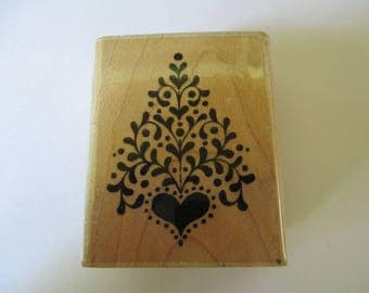 "Rubber Stamp  "" Christmas heart tree""  used good condition"