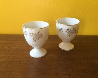Pair of Gold Floral Egg Cups Japan