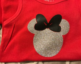 Girls/Infant Glitter Minnie Mouse Tank