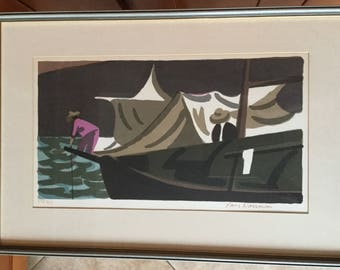 Signed Lars Norrman, Listed Artist, Mid Century Modern Lithograph Print, Fishermen