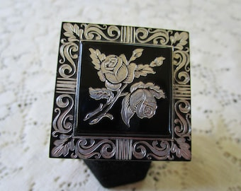 Vintage Black and Silver Made in France Brooch