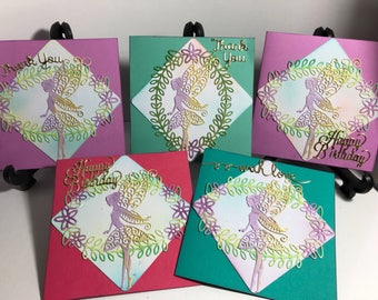 Box of 5 Dancing Fairy themed cards