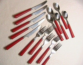 Flatware, Silverware, Red Handled Flatware, Set for 5, Vintage Red Handled Spoons, Forks, Knives