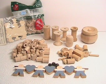 Wood parts, Unfinished Wood Parts, Assorted Wood Parts, Wood Spools