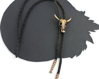 Gold & Black Cow Skull Vintage Bolo Tie