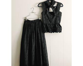 1960s Black Eyelet Dress Set / Skirt - Top - Kerchief