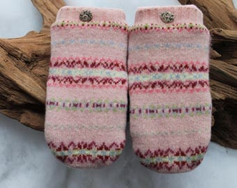 Wool and cashmere sweater mittens lined with fleece with Lake Superior rock buttons in pink, white, blue, red and yellow, Valentines, Easter