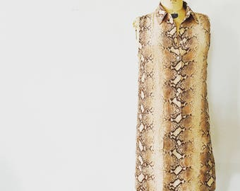 SALE / Simple Silk Reptile Mini Dress / Nineties / Size XSmall