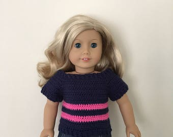 Navy doll sweater with pink stripes. 18 inch doll sweater fits dolls such as American Girl. Handmade crocheted. Unique doll clothing!