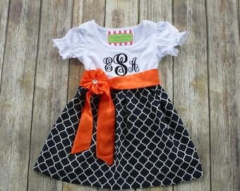 Girl Monogrammed Dress-Personalized Girl Dress-Girl Portrait Dress-Girl Navy Blue Dress-Girl Fall Dress-Game Day Dress/Custom Boutique