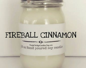 16 oz Fireball Cinnamon scented candle, soy Candle, Fireball, Fireball candle, Cinnamon, Red Hot, Red Hot Candle, Cinnamon Candle, Vegan