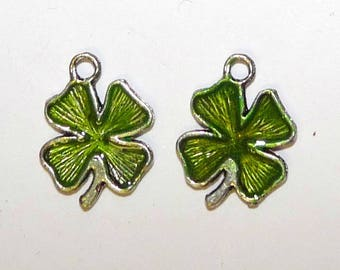 set of 2 charms pendant green 4 leaf clover lucky nature St. Patrick's day for creation