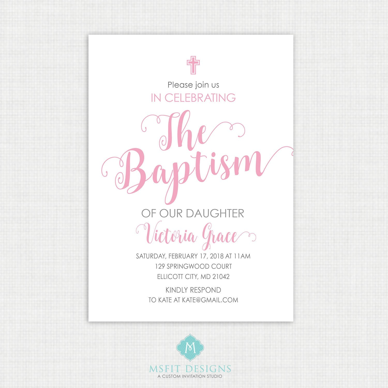 Printable Communion Invitation- Watercolor - Girl Baptism ...