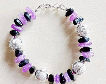 Stunning & Colourful Amethyst Watermelon Bracelet with Matching Earrings
