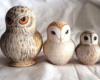 Hand Painted Russian Owls set of 10