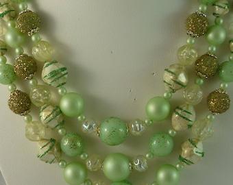 Fabulous Mint Green Japan Triple Strand Art Glass Bead Necklace