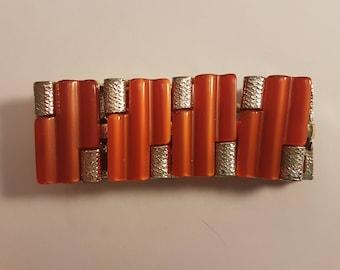 Coro Pegasus - Beautiful Coral or Salmon Red Thermoset Bracelet