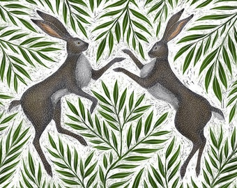 Boxing Hares A5 Print