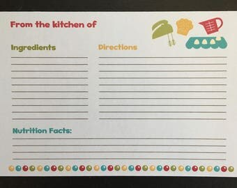 "Recipe Cards - 4"" x 6""  FREE SHIPPING!"