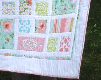Dena Designs WARM MEADOW Cottage Chic baby girl patchwork quilt--Made to Order