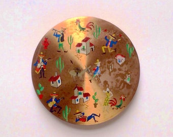 1960s Powder Compact, Mexican Folklore Motifs, Quirky Retro Gift for Her, Retro Cosmetics