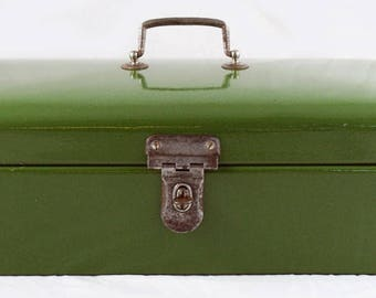 Vintage antique Dutch bread box dark green enamel