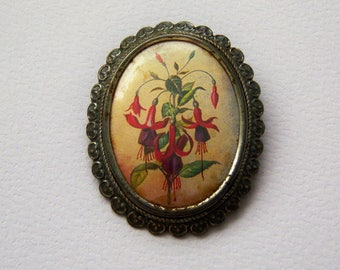 Exquisite Brooch. Exquisite Pin. Signed Exquisite Fuchsia Brooch.