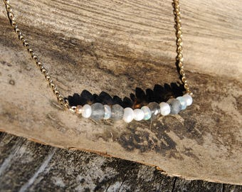 Labradorite Pearl and Opal Necklace
