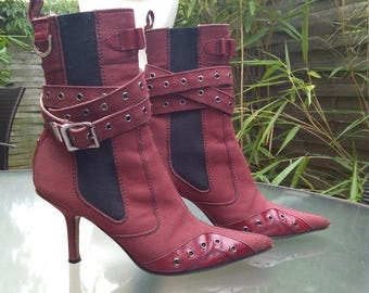 French vintage Dior anthentic leather Boots Size 36 shoes Genuine leather and fabric boots CHRISTIAN DIOR bordeaux France mode  chic