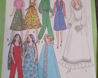 Vintage Doll Pattern Clothes Simplicity 8281 Barbie Sized Doll, 1977