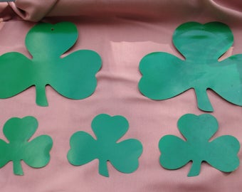 Lot Of Vintage Die Cut Green Cardboard Shamrocks TLC Stains Wear