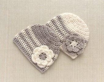Crochet baby girl hats, Newborn twin girls hats, Twin newborn girls hats, Twin girls photo prop hat, Hospital twin hats for girls