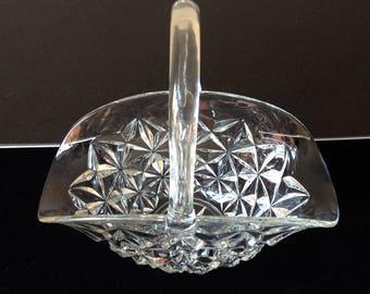 Vintage 1920s Pressed Glass Basket
