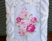 Vintage Chenille tote Cottage chic soft sided bag Blue and white with pink roses