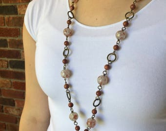 Golden Touched Lanyard Necklace - Beaded Lanyard